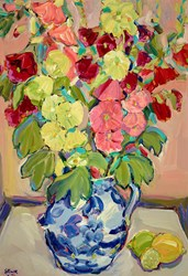 Foxhill Hollyhocks by Jeffrey Pratt - Original Painting on Board sized 27x39 inches. Available from Whitewall Galleries
